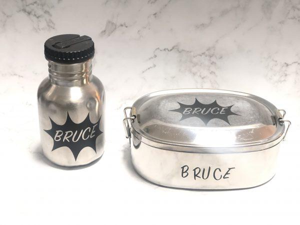 Lunchbox en drinkbeker met naam